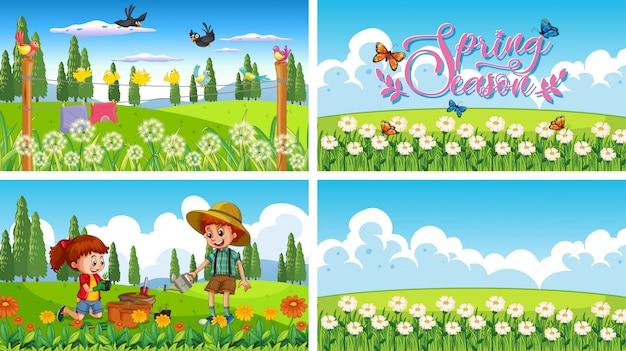 Cuatro escenas de fondo con niños y animales en el parque. vector gratuito