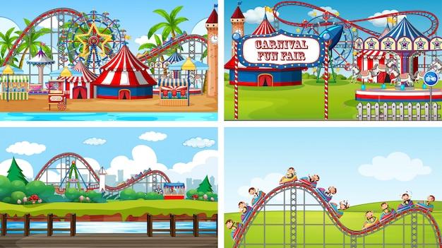 Cuatro escenas con muchas atracciones en la feria. vector gratuito