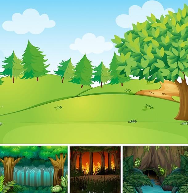 Cuatro escenas de naturaleza diferente de estilo de dibujos animados de bosque y pantano vector gratuito