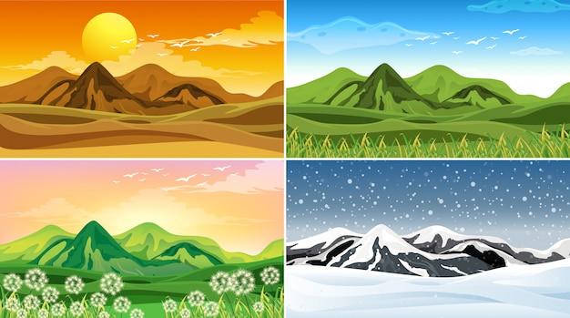 Cuatro escenas de la naturaleza en diferentes estaciones vector gratuito