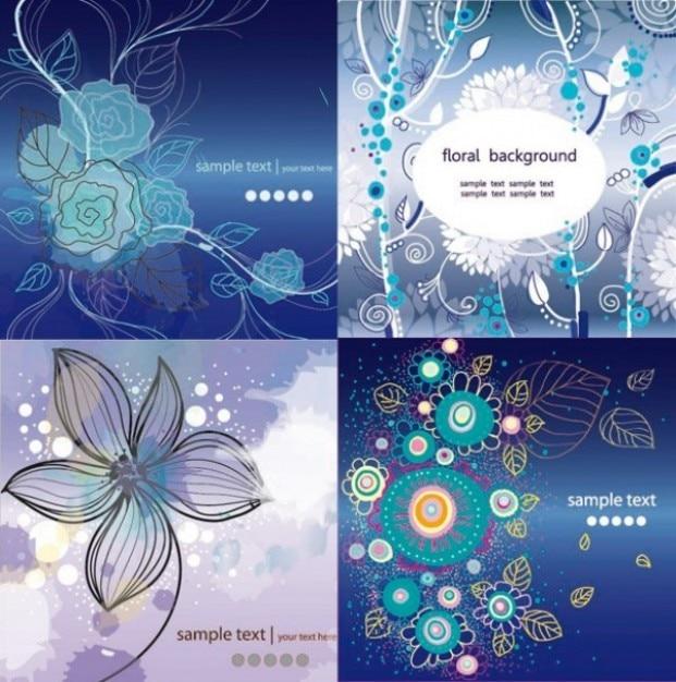 Cuatro fondos de tonos azules con flores | Descargar Vectores gratis