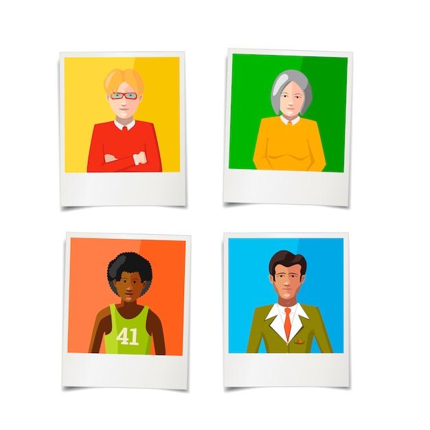 Cuatro fotos polaroid diferentes con retratos planos de personas. Vector Premium