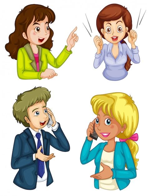 Cuatro iconos de negocios comunicando vector gratuito