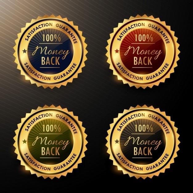 Cuatro insignias doradas de garantía vector gratuito