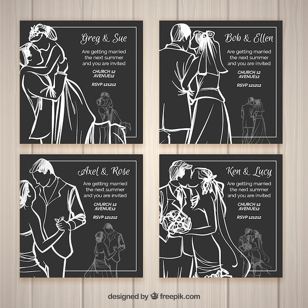 Cuatro invitaciones de boda estilo boceto vector gratuito