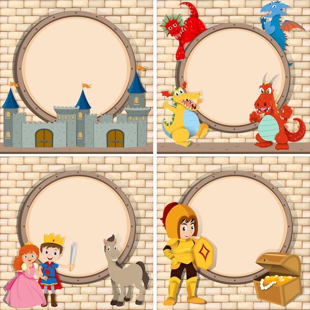 Cuatro marco con personajes de cuentos de hadas   Descargar Vectores ...