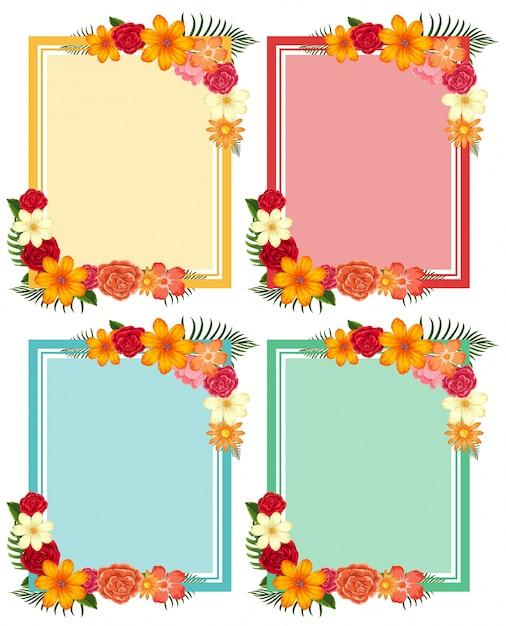 Cuatro marcos con flores coloridas | Descargar Vectores Premium