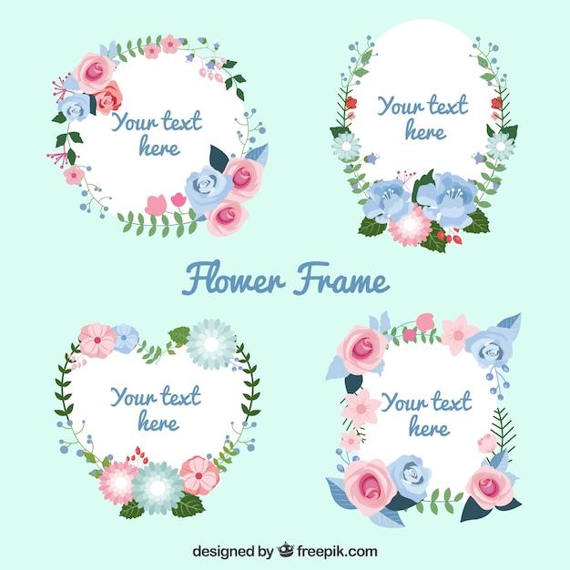 Cuatro marcos florales románticos   Descargar Vectores gratis