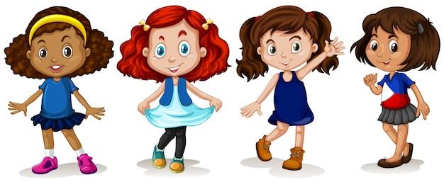 Cuatro muchachas con la ilustración feliz de la cara vector gratuito