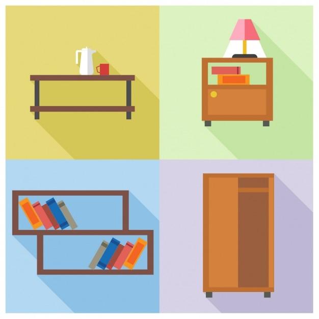 Cuatro muebles descargar vectores gratis for Muebles gratis