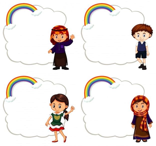 Cuatro niños y marco de nubes vector gratuito