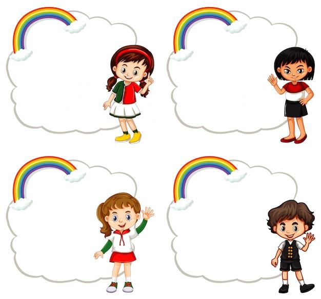 Cuatro niños y marcos de nubes vector gratuito