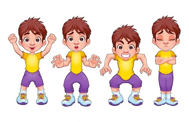Para Niños De Dibujos Animados Caras Diferentes: Cuatro Poses Del Mismo Niño En Diferentes Expresiones Del