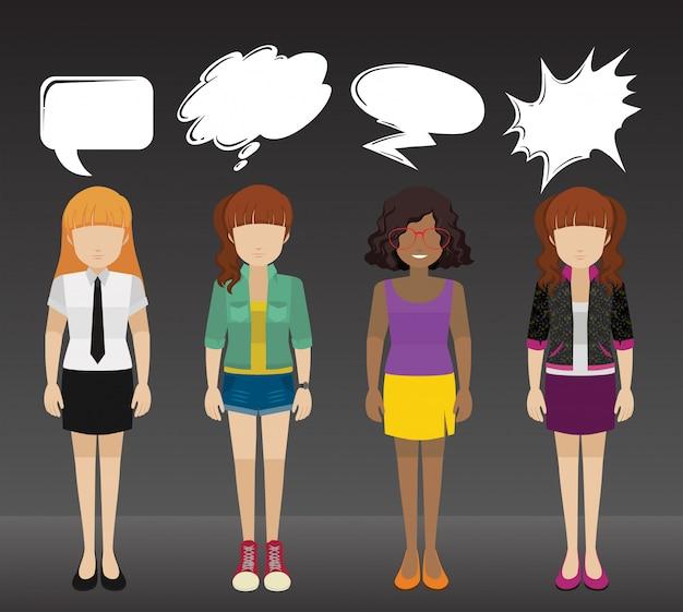 Cuatro señoras con rótulos vector gratuito