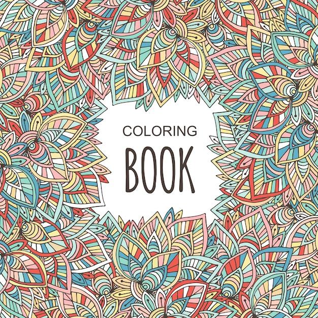 Cubierta para libro de colorear para adultos. otoño colorido adorno ...