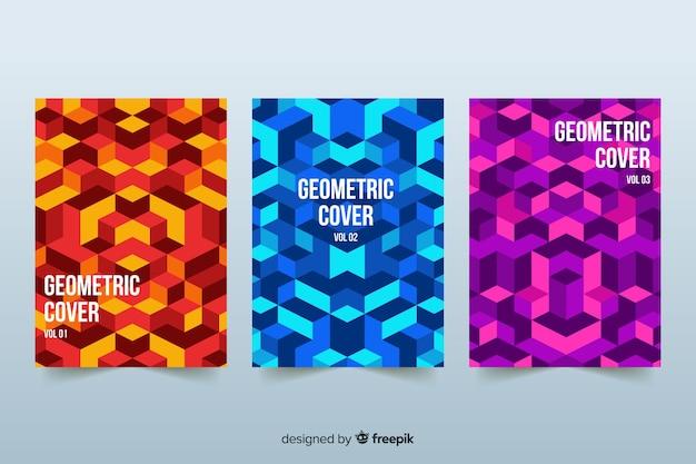Cubiertas de diseño en estilo geométrico. vector gratuito