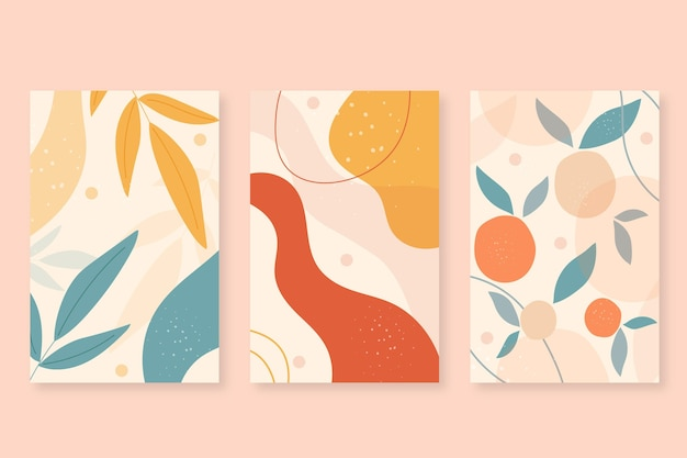Cubiertas de formas abstractas dibujadas a mano vector gratuito