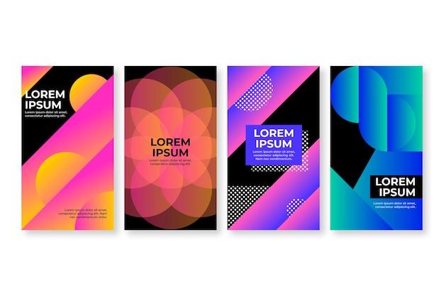 Cubiertas de formas geométricas gradientes sobre fondo oscuro vector gratuito