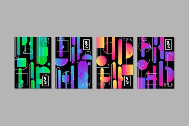 Cubiertas de formas geométricas sobre fondo oscuro vector gratuito