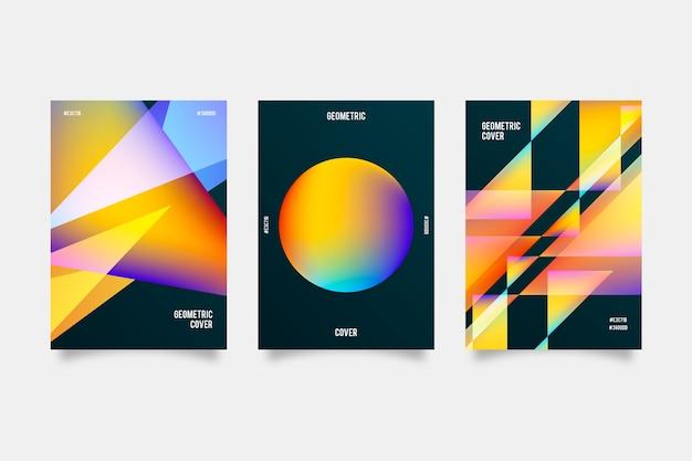 Cubiertas de formas gradientes sobre fondo oscuro vector gratuito