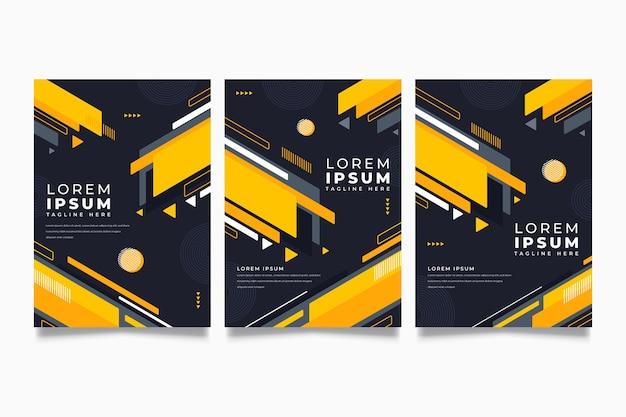 Cubiertas geométricas sobre fondo oscuro Vector Premium