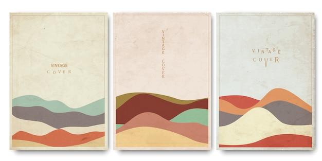 Cubiertas de plantillas con curvas geométricas texturizadas dibujadas a mano estilo oriental oriental Vector Premium