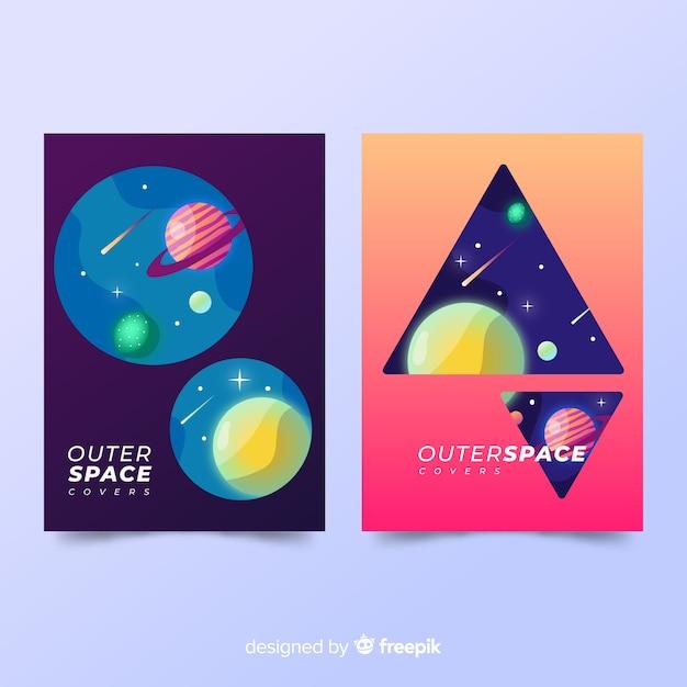 Cubiertas con tema espacial vector gratuito