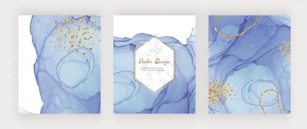 Cubiertas de textura de tinta de alcohol azul con confeti dorado brillante y marco de mármol. diseño de acuarela abstracta pintada a mano Vector Premium