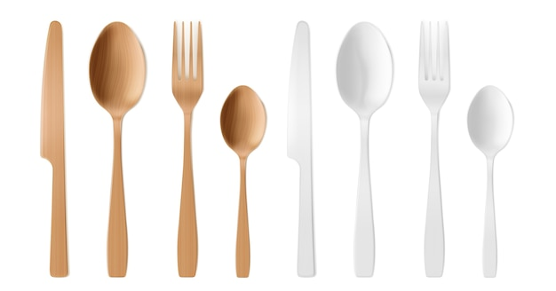 Cubiertos 3d de madera y plástico, tenedor, cuchara y cuchillo desechables. vector gratuito