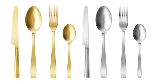Cubiertos 3d de tenedor, cuchillo y cuchara de color dorado y plateado. vector gratuito