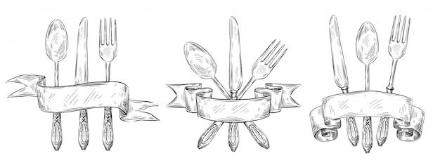 Cubiertos con cinta. mesa vintage grabado grabado, tenedor dibujado a mano, cuchillo y cuchara de comida boceto conjunto de ilustración Vector Premium