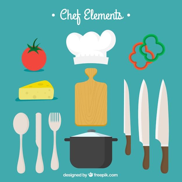 Cubiertos con ingredientes y otros elementos de cocina for Herramientas de un cocinero