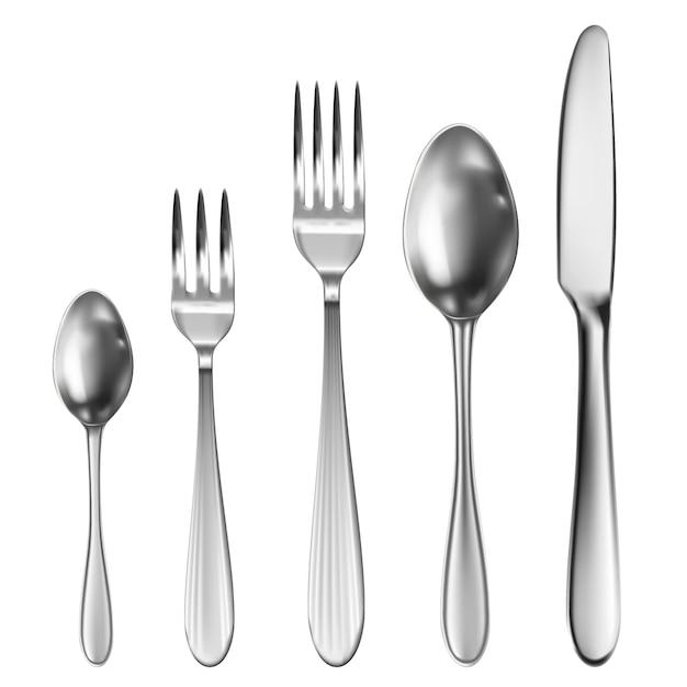 Cubiertos realistas con cuchillo de mesa, cuchara, tenedor, cuchara de té y cuchara de pescado. Vector Premium