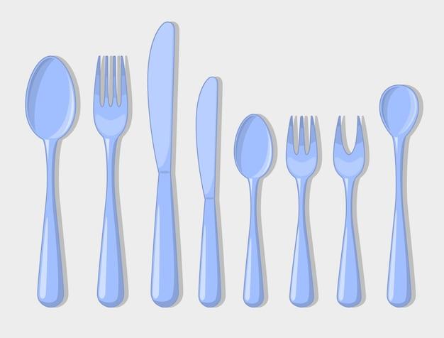 Cubiertos set iconos tenedor cuchara Vector Premium