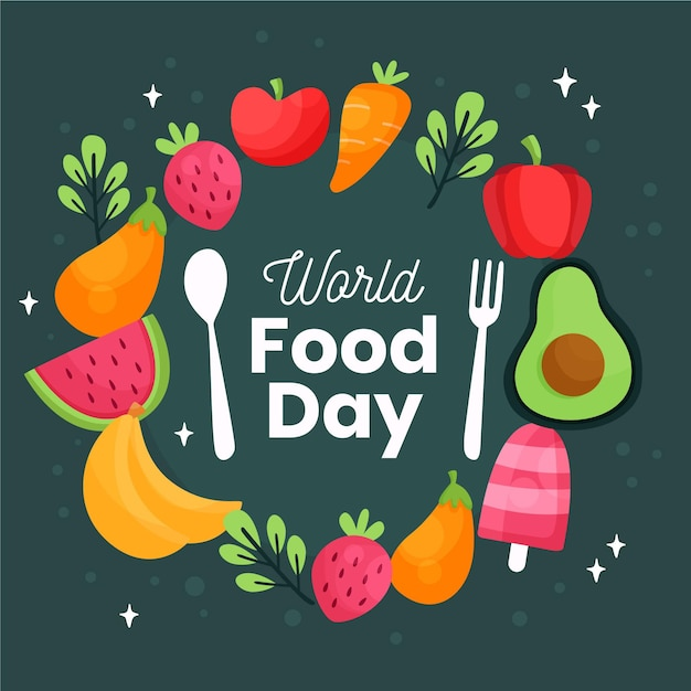 Cubiertos con verduras y frutas concepto del día mundial de la alimentación vector gratuito