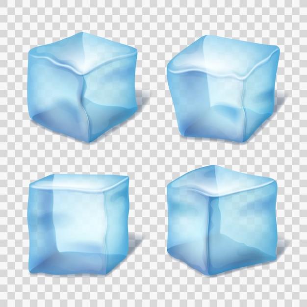 Cubitos de hielo azul transparente en cuadros Vector Premium