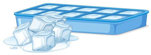 Cubitos de hielo en caja de hielo en blanco vector gratuito