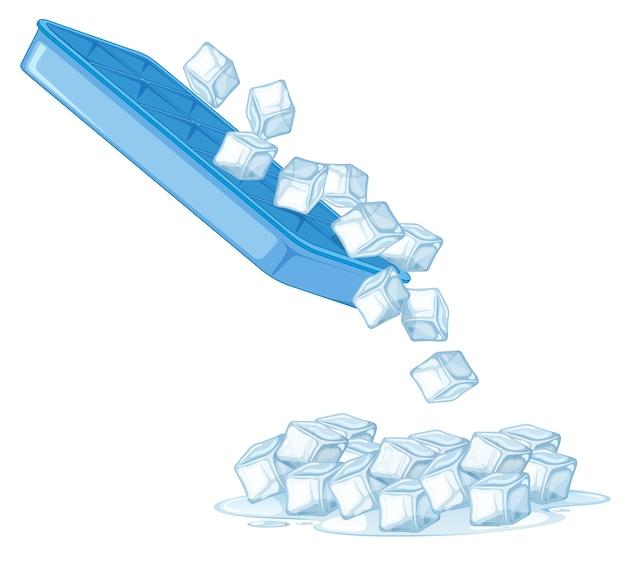 Cubo de hielo sobre fondo blanco. vector gratuito