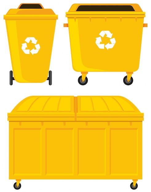 Cubos de basura en tres diseños diferentes vector gratuito