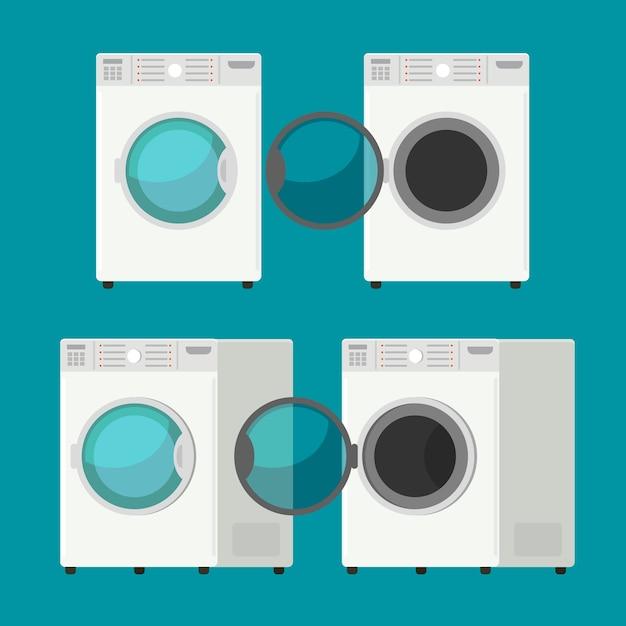 Cubra el equipo aislado de la lavadora delantera que lava el fondo blanco de la ropa Vector Premium