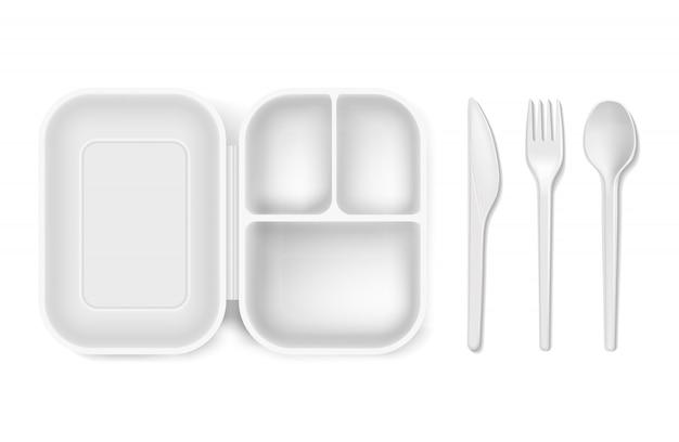 Cuchara de plástico desechable, tenedor o cuchillo y fiambrera Vector Premium