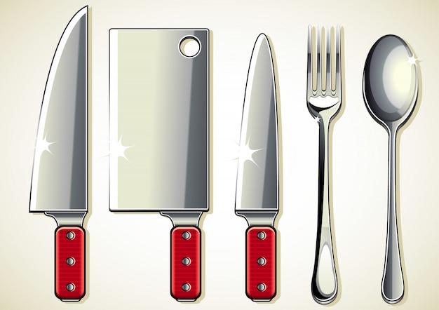 Cuchillos, tenedor y cuchara. Vector Premium
