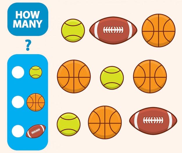 Cuenta la cantidad de baloncesto, pelota de tenis y fútbol americano Vector Premium