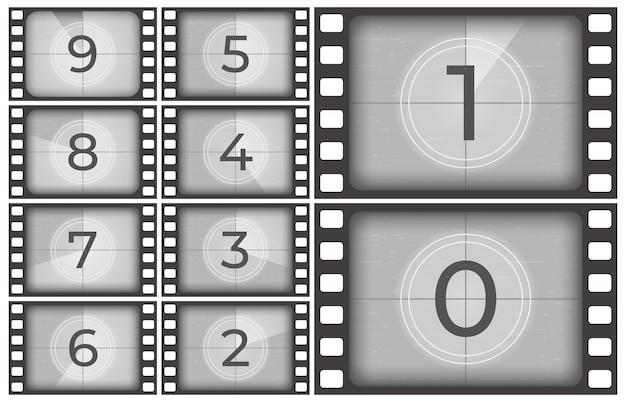 Cuenta regresiva de películas de cine, marcos de tiras de películas antiguas, números de conteo de pantalla de introducción vintage o marcos de temporizador retro Vector Premium