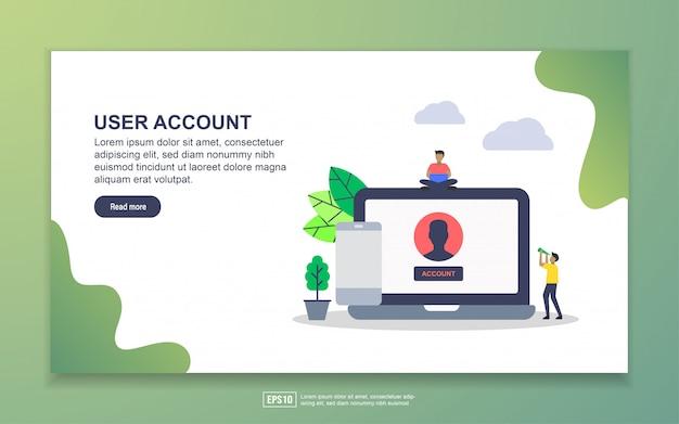 Cuenta de usuario con el aterrizaje de personajes de personas diminutas Vector Premium