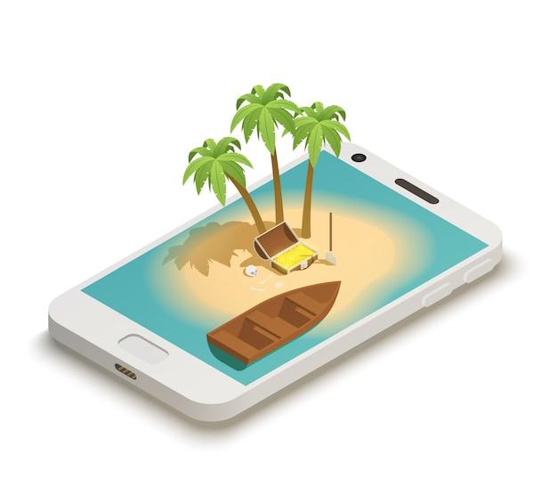 Cuento de hadas smartphone isométrico vector gratuito