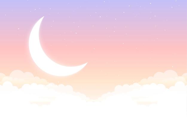 Cuentos de hadas de ensueño luna estrella y nubes hermoso fondo vector gratuito