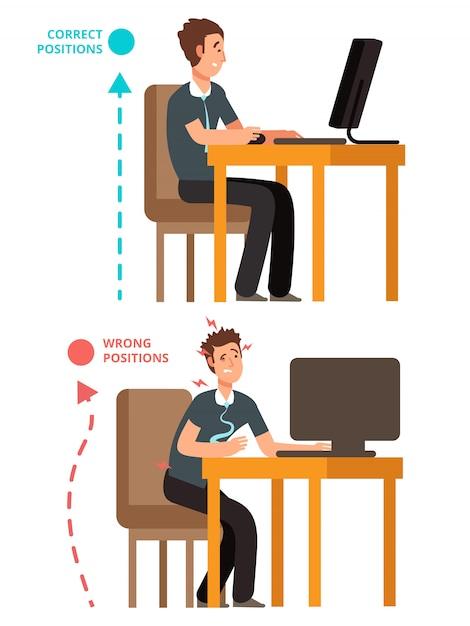 Cuerpo incorrecto y correcto, persona sentada ilustración correcta o incorrecta Vector Premium