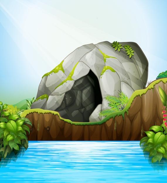 Cueva en la naturaleza vector gratuito