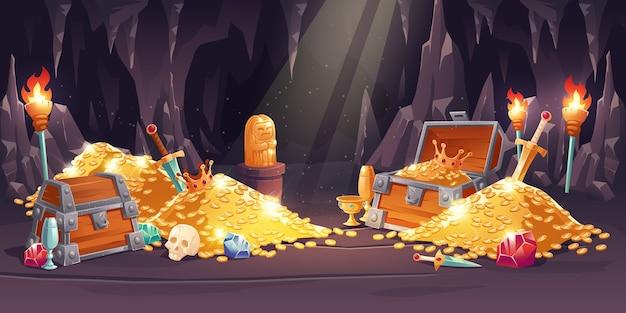 Cueva con tesoro, pila de monedas de oro, joyas y gemas. vector gratuito